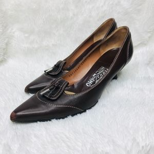 Salvatore Ferragamo Brown Pointed Toe Heels